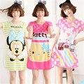 Mulheres Caráter Bonito na altura do joelho-comprimento nightgowns sleepshirts feminino bonito para a Primavera e verão
