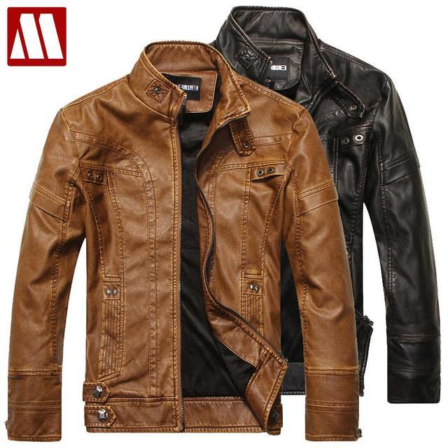 Jaqueta Couro Masculino Men's PU leather jacket fur-lined mandarin collar motorbike leather zipper jackets men's coat S - XXXL