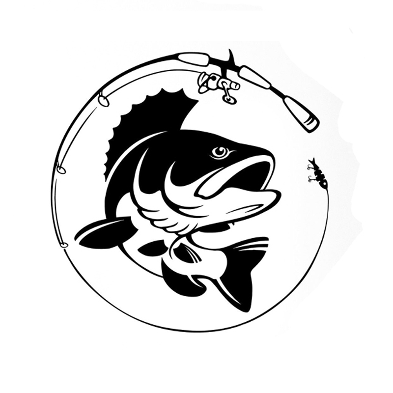 14.1CM*14.3CM Fishing Rod Hobby Fish Vinyl Car Sticker S9-0145