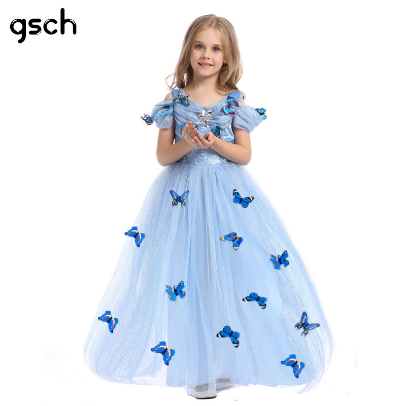 GSCH Elsa Dress Baby Girl Snow Queen Elsa Anna Princess Dress Girls Cinderella Dress Kids Party Cosplay Costume Deguisement Robe 2015 high quality black mdf mounted outside black pu leather 3 grid watch display box storage box free shipping ag442