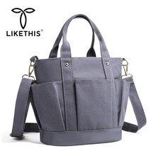 LIKETHIS New Canvas Leather Woman Shoulder Bag High Capacity Messenger Casual Crossbody Tote Female Handbag Dropshipping