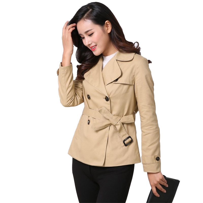 New Short Trench Coat Women 2019 Spring Autumn Cotton Windbreaker Casual Tops Female Belt Slim Double-breasted Short Coats A2471