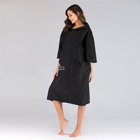 Black Sports Quick Dry Towels Changing Robe Diving Bath Towel Outdoor Adult Hooded Men/Women Beach Towel Poncho Bathrobe Towels