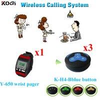 Sistema de pager watcher sem fio funciona com pulso relógio pager e K-H4 botões mulit dhl frete grátis