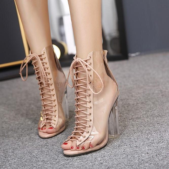 Summer Sandals Sexy PVC Transparent Gladiator Sandals Cross Strappy Peep Toe Shoes Clear Chunky heels Women Ankle boots EE-254