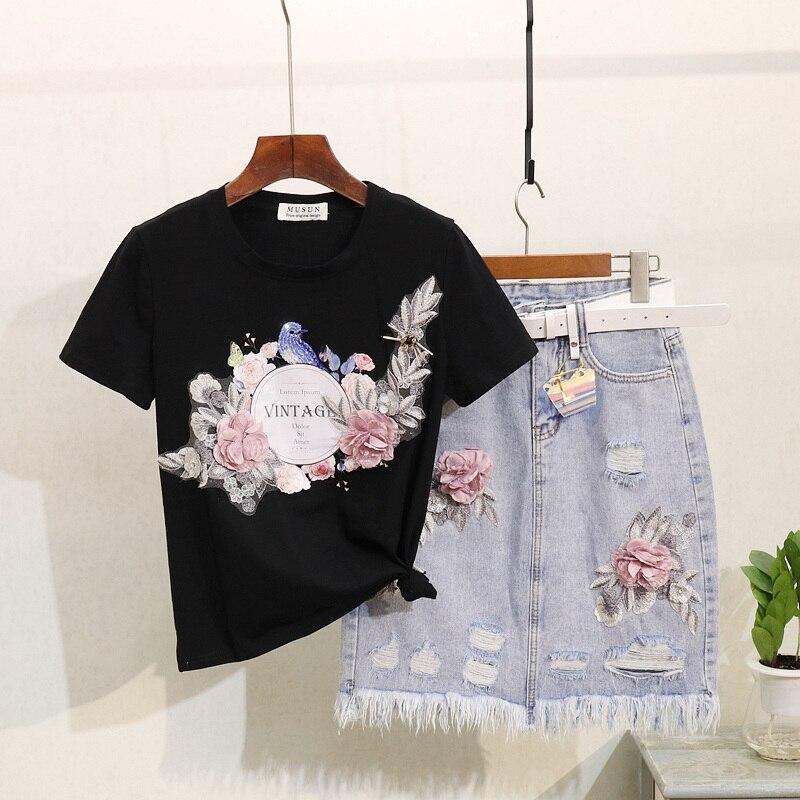 Été broderie T shirt trous Denim jupe ensemble femmes à manches courtes coton t-shirt Femme Jeans jupe haut pour Femme deux pièces tenues