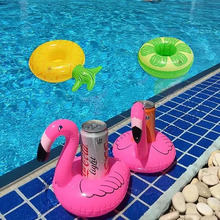 Hawaii Flamingo Pineapple Donut Drink Holder 4PCS Float Inflatable Swim Ring Pool Beach Party Decoration Supplies Kid Adult Toys