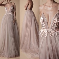 Sexy Tulle Long Evening Dress 2019 New Arrival Backless Court Train Flowers Blush A Line Special Occasion Prom Gowns Custom Made
