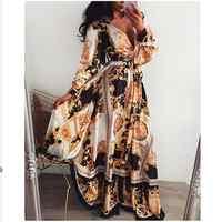 2019 Hot Sale Women Long Sleeve V Neck Floral Boho Vintage Maxi Dress Holiday Beach Dress Ladies Party Dress