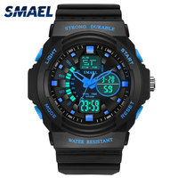 New Fashion Watches Men Smael Brand 50m Waterproof Sport Watches Male Clock Dual Display Wristwatches Hot