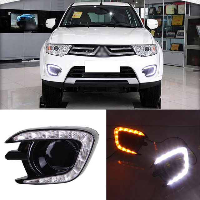 Ownsun New Updated LED Daytime Running Lights DRL With Black Fog Light Cover For Mitsubishi Pajero 2013-2015