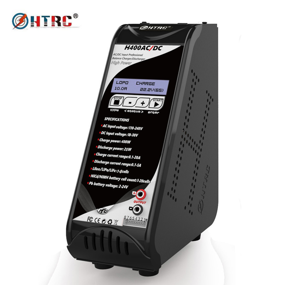 HTRC H400 AC/DC 400W 20A Vertical Balance Charger Discharger for Battery 1-8s Lilon/LiPo/LiFe LiHV 1-20s NiMH/NiCd