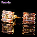 Romeda Hombres Gemelos de Cobre Cuadrado de Cristal de Circón Gemelos de Oro de Negocios Hermoso Botón de Puño de la Camisa Ropa de La Joyería Para Los Hombres