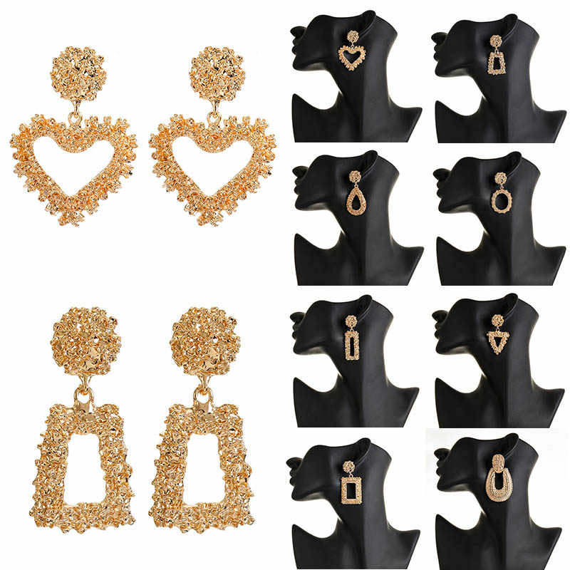 F41 New Elegant Big Vintage Metal Earrings For Women Gold Color Geometric Statement Drop Earring Hanging Fashion Trendy Jewelry