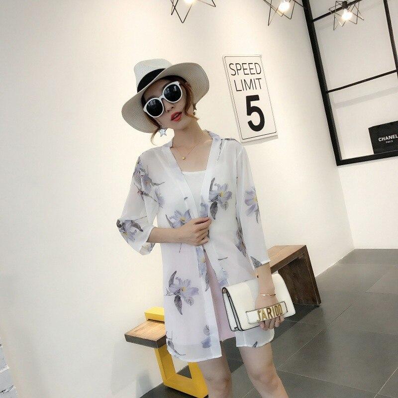 HTB1gWmcB5OYBuNjSsD4q6zSkFXag - Blusas Mujer De Moda  New Women Summer Chiffon Blouse Pinted Casual Kimono Cardigan Long Blouses Sunscreen Tops Plus Size