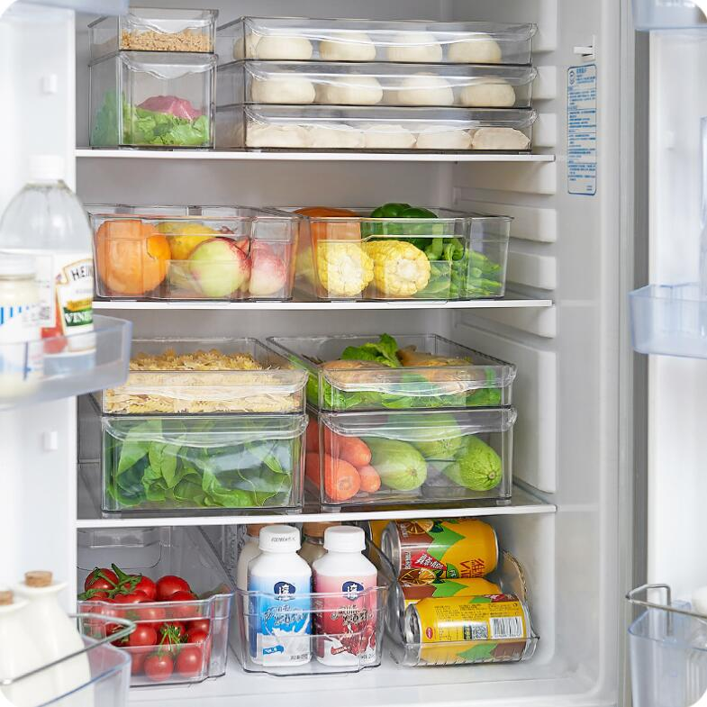 Refrigerator Organizer Artifacts Plastic Rectangular Drawer Storage Box Acrylic Kitchen Rangement Food Container