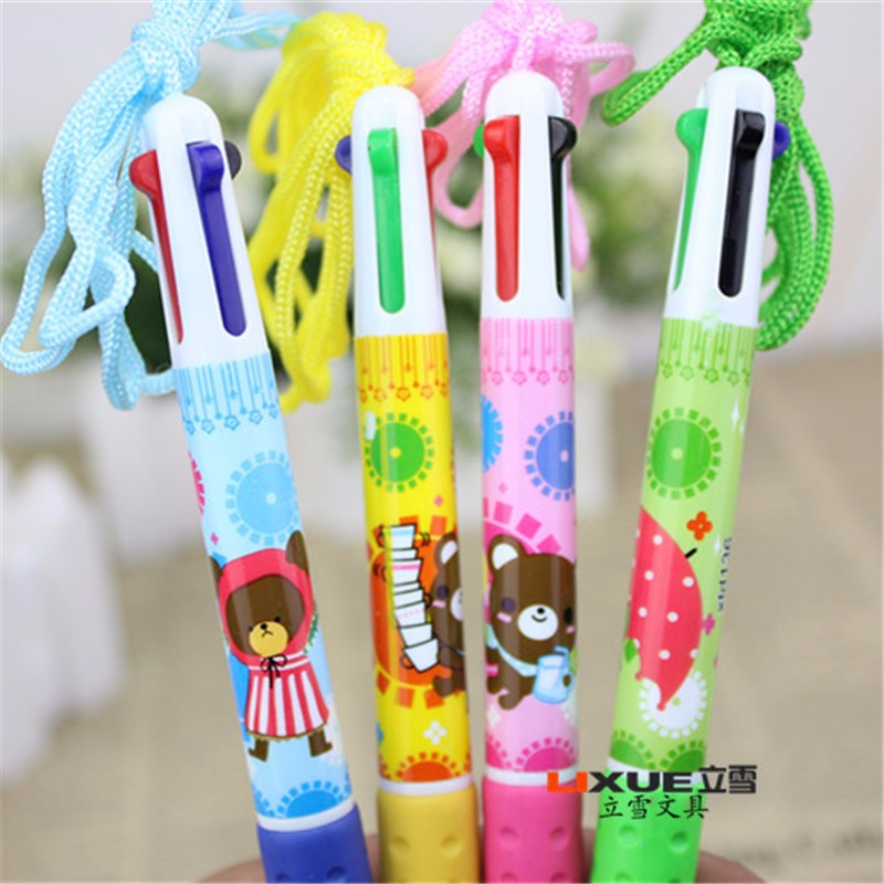 Cheap 0.7mm Refills Kawaii Ballpoint Pens Korea Stationery 4 Color Cute Pen Caneta Papelaria Office School Supplies For Sale 01