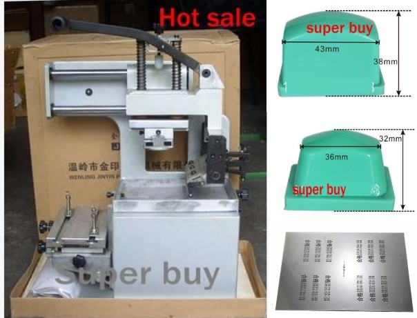 2018 New Pad Printer Printing Machine + Pad Print Rubber Pads 2 pcs + Customized Cliche Logo Making Package Combo