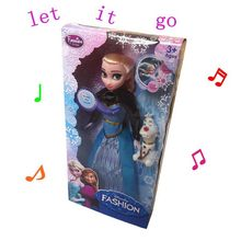 Музыка куклы 30 см Принцесса Анна Эльза с его детский toys set кукла без упаковки