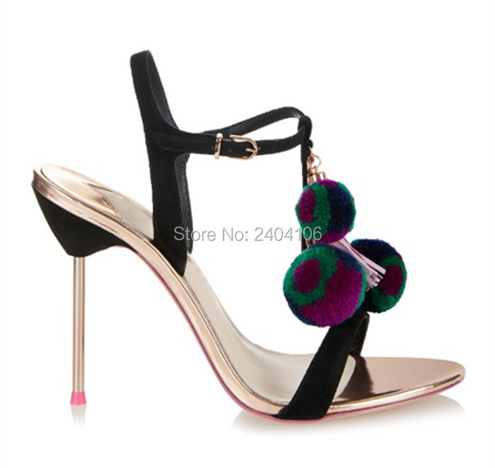 Black Silver Pom Pom Wedding Shoes Summer Sandles Tacones Mujer Open Toe Metal Thin High Heels T-tied Ankle Strap Sandals Women