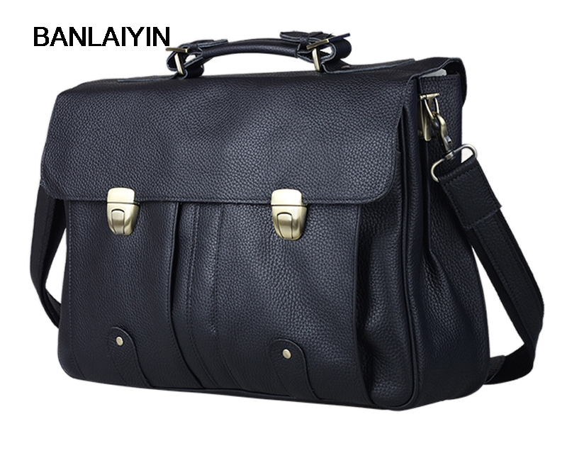 Cowhide Leather Men's Briefcase Genuine Leather Briefcases For 15