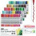 Doble punta marcador plumas 100 colores acuarela Dual cepillo pluma pincel de punta de cepillo para colorear arte dibujo caligrafía Manga marcador suministros