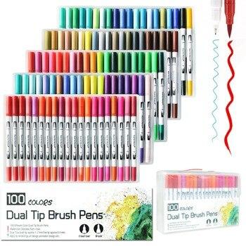 Dual końcówki pisaki 100 kolorów, akwarela Dual pędzelek do zdobień końcówki pędzla do malowania/sztuka/szkicowania/kaligrafii/Manga