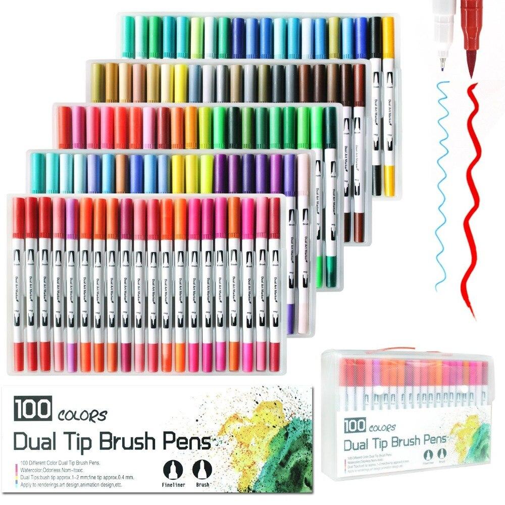 Stylo marqueur double pointe 100 couleurs, aquarelle pinceau double pointe pour coloriage/Art/croquis/calligraphie/Manga