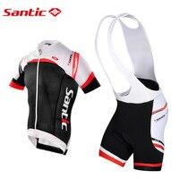Santic Pro fit Велоспорт комплекты короткий рукав майки + шорты MTB Велоспорт Трикотажные дышащая анти пот MCT041