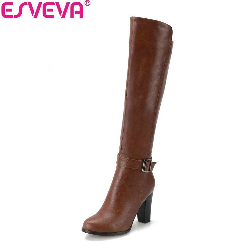 ESVEVA 2019 Women Winter Boots Shoes Zip Knee High Boots PU Buckle Square High Heels Round Toe Autumn Shoes Woman Size 34-43 цены онлайн