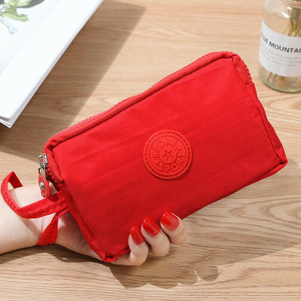 Модные Женские однотонные 3 Слои холст телефона короткий бумажник три-Слои для монет на молнии-карта для ключей - Цвет: Красный