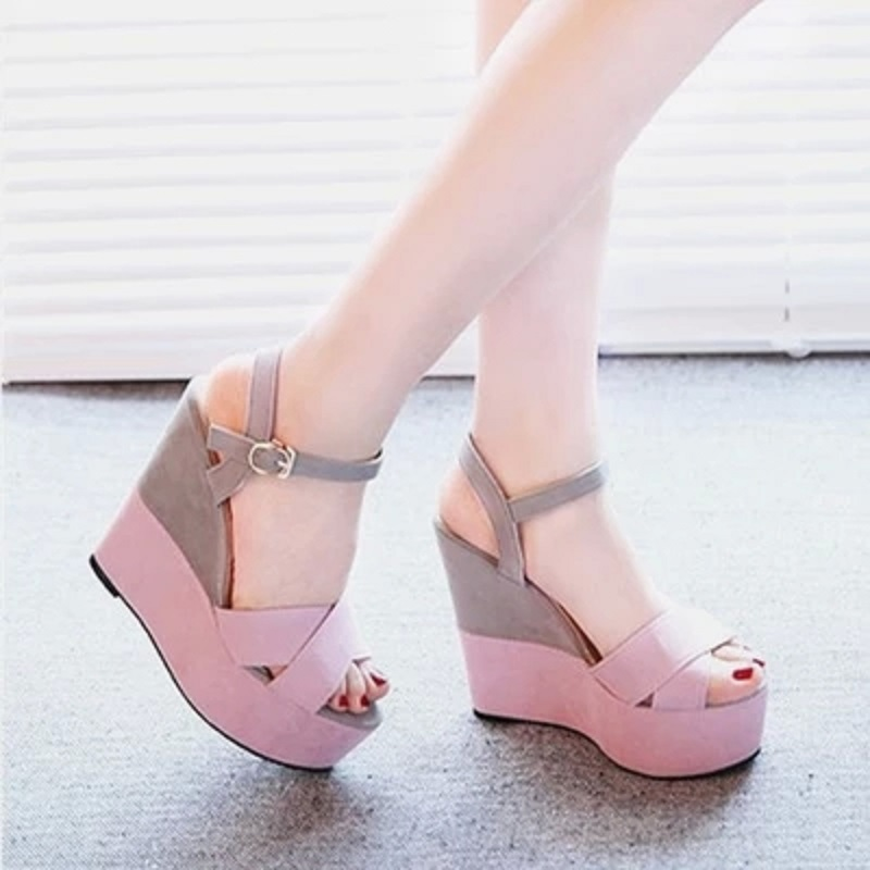 2019 summer new slope with fish mouth sandals female high-heeled belt buckle shallow mouth women's shoes with a fashion shoes 14