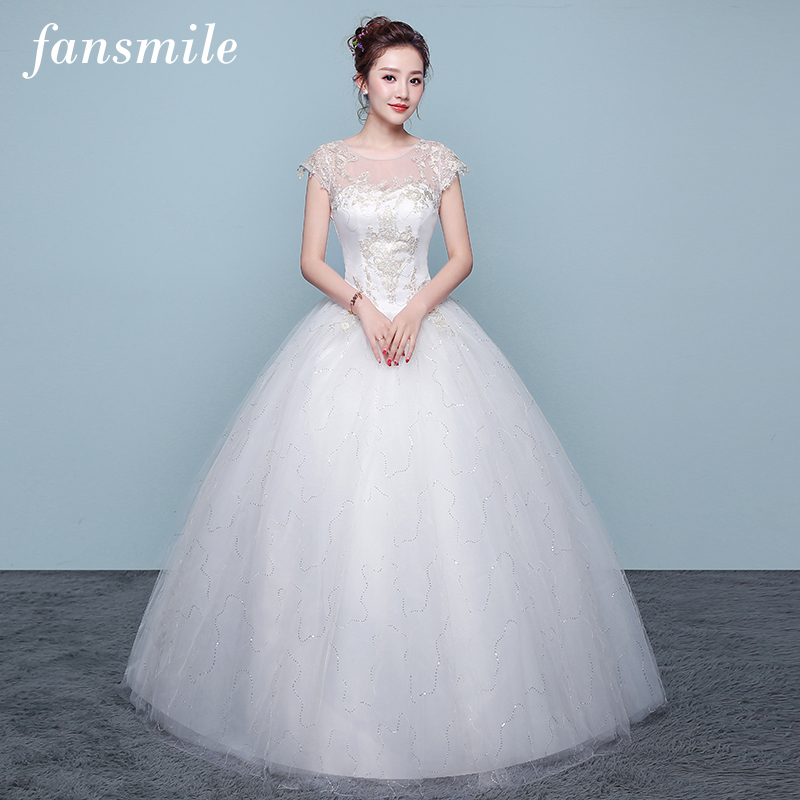 Fansmile Tulle Mariage Vintage Lace Gowns Wedding Dress