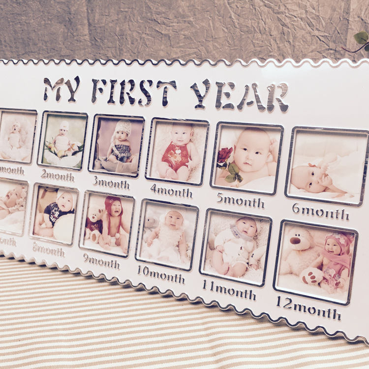 Baby Show Home Decor Creative Baby First Year Photo Frame 12 Holes ...