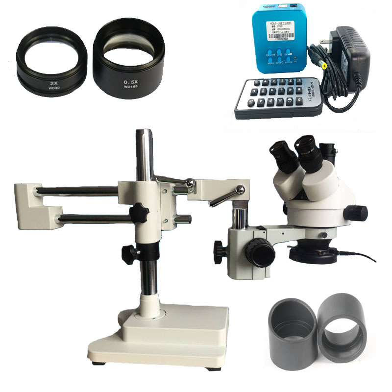 3.5X-90X Double Boom Stand Stereo Zoom Simul Focal trinocular Microscope 20MP 1080P Full HDMI USB Soldering camera microscope big split simul focal microscope double boom stand trinocular stereo zoom microscope