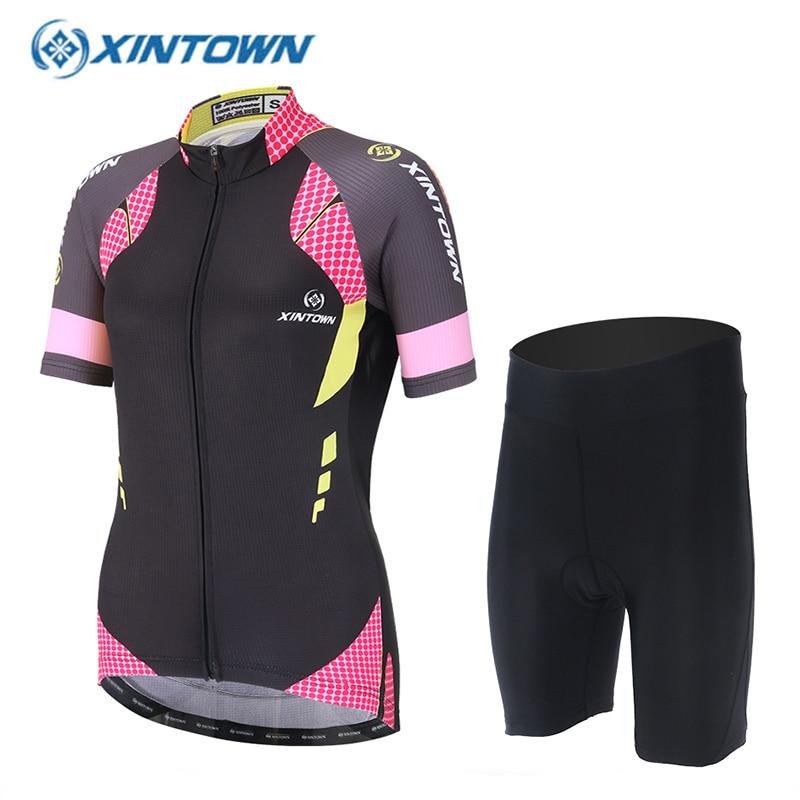 XINTOWN Women Pro Cycling Set Bike Clothing Sport Jerseys MTB Shorts Anti-sweat Bicycle Clothes Sportswear Ropa Maillot Ciclismo