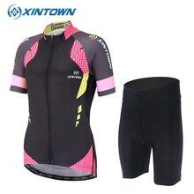 XINTOWN Women Pro Cycling Set Bike Clothing Sport Jerseys MTB Shorts Anti sweat Bicycle Clothes Sportswear