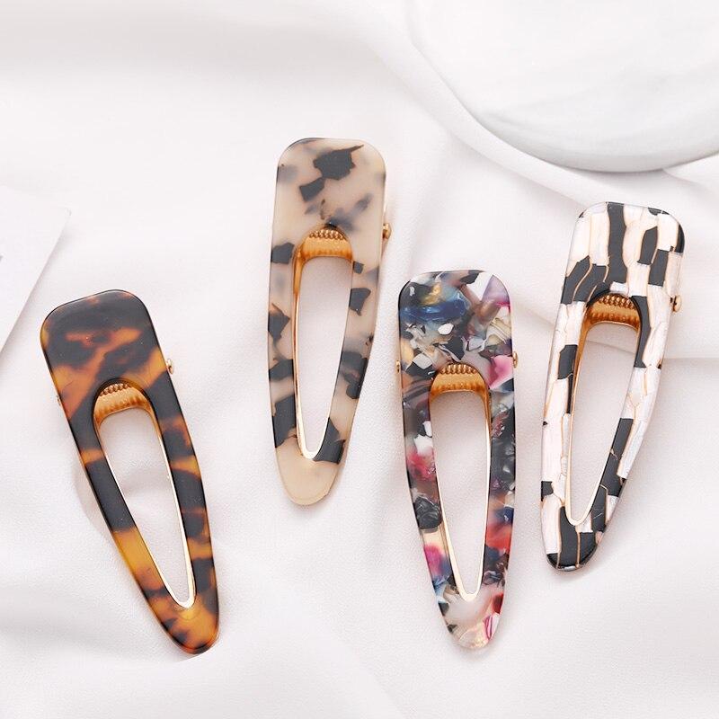 New Big Size Women Elegant Leopard Print Acetate Waterdrop Hair Clip Headwear Hairpin Barrette Headband Fashion Hair Accessories