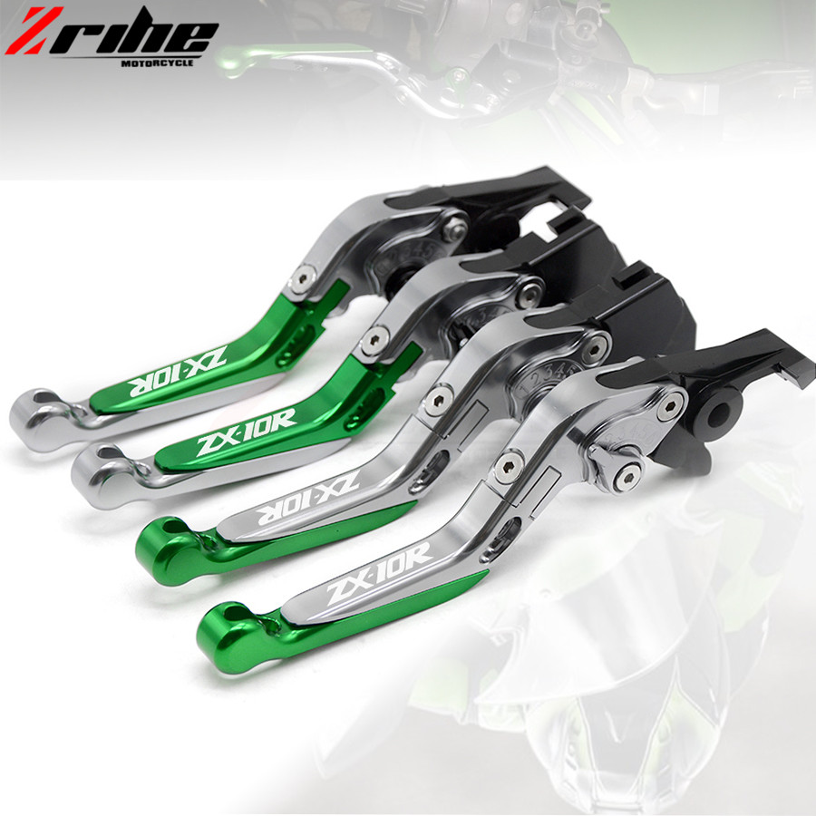 motorcycle brake clutch levers Folding Extendable Adjustable CNC Aluminum Brakes Clutch Levers For Kawasaki ZX10R	2006-2015 2014 adjustable billet extendable folding brake clutch levers for bimota db 5 s r 1100 2006 11 07 09 10 db 7 08 11 db 8 1200 08 11