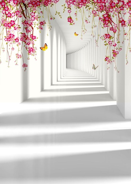 Vinyl Cloth 3d White Corridor Wall Butterfly Flower