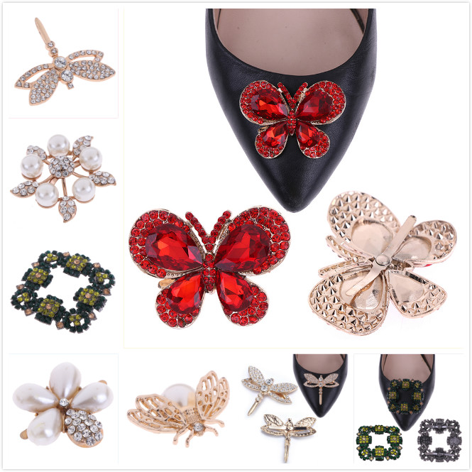 6Styles Elegant Crystal Shoe Clip Faux Pearl Shoe Clips Bridal Shoes Rhinestone Clip Buckle Shoes Decorative  For Women Girl