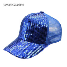 купить Baseball Hip Hop Cap Sequins Fashion Adjustable Women Summer Hat Female Adult Girls Cap Bone Hat Snapback Men Caps Sun Cap Mesh по цене 260.52 рублей