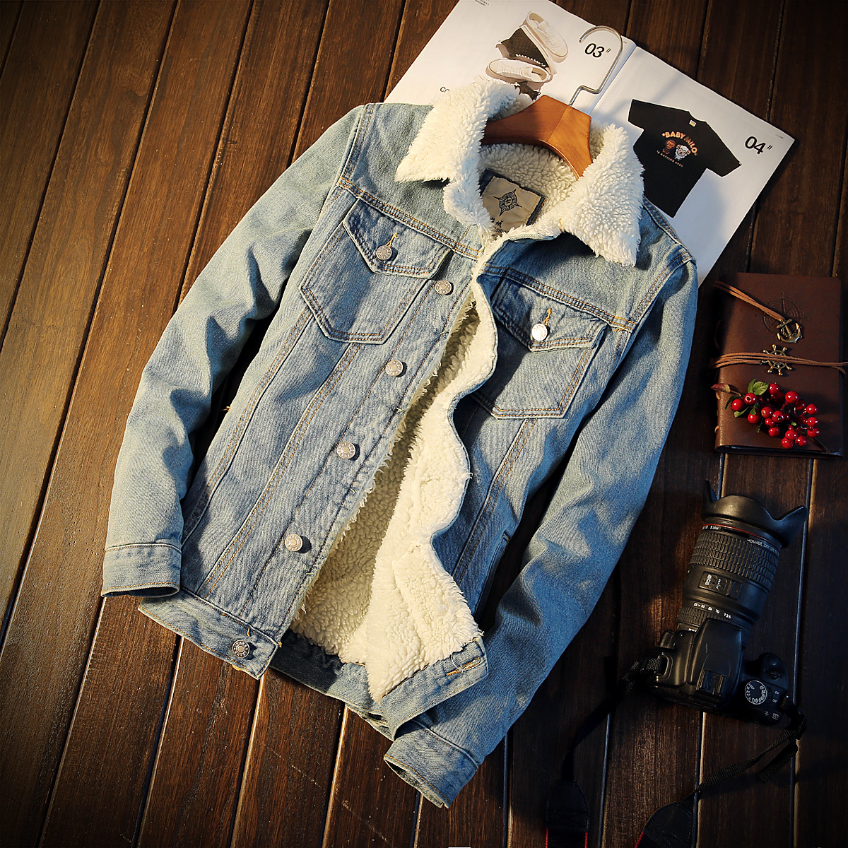 Men Jacket and Coat Trendy Warm Fleece Denim Jacket Trench 2018 Winter Fashion Mens Jean Jacket Outwear Male Plus Size 5XL