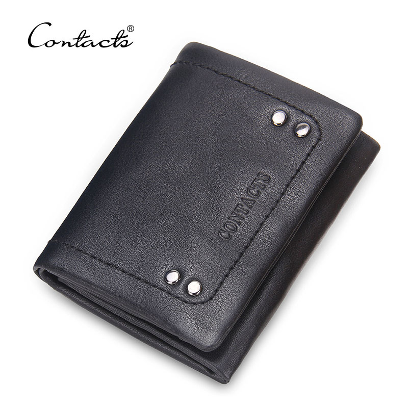 CONTACT'S Brand Leather Wallet For Gift Business Genuine Leather Trifold Wallets Card Holder Short Design Solid Hasp Coin Purse