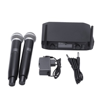Smart Fm Vhf Wireless Microphone 2 Cordless Handheld Mic Free Frequency For Meeting Pc Speaker Amplifier Eu Plug