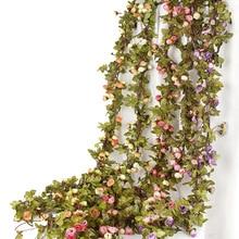 Guirnalda de enredadera de flores falsas rosas pequeñas de hiedra artificial decoración de tienda para hogar de boda pared de plástico colgante de plantas verdes hoja de ratán
