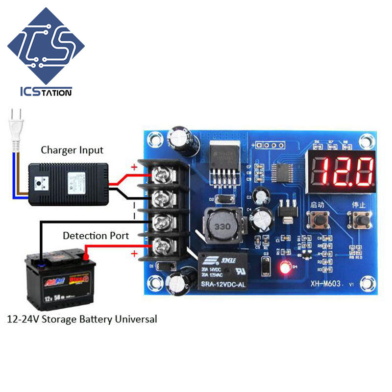 Battery Charging Protection Switch Automatic ON/OFF 12-24V Board Free Shipping! XH-M603 Lithium Battery Charging Control Module 4s 8a li ion lithium battery charger protection board 3 7v 14 8v 4 serial pcb charging protection module overcharging protection