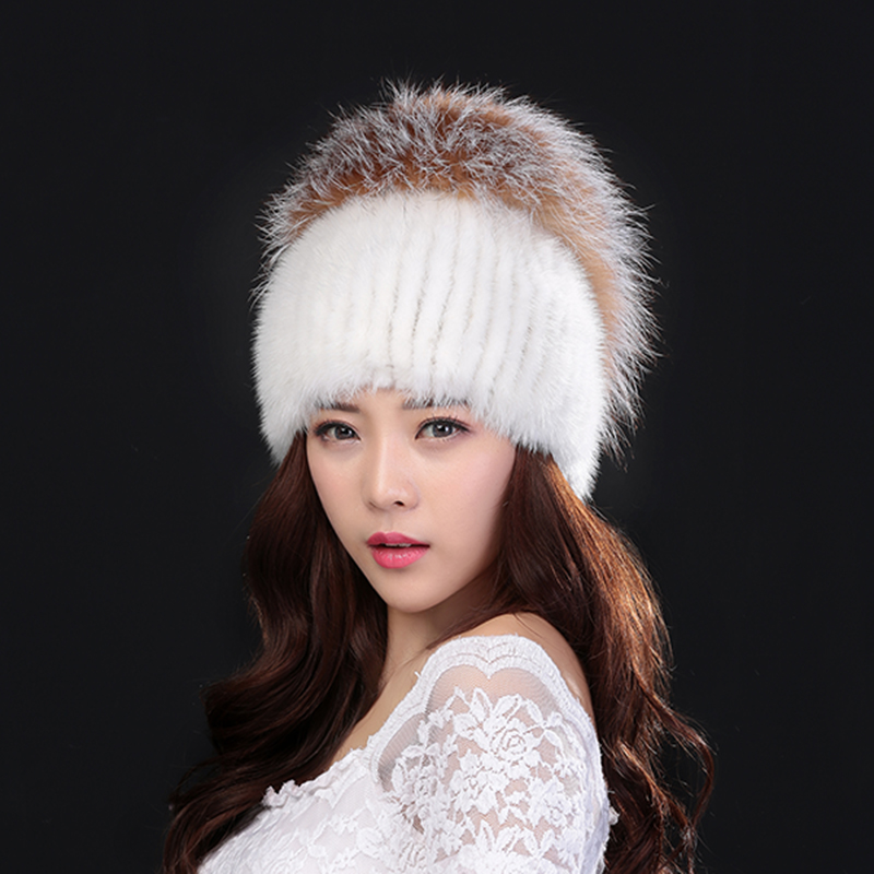 New hot women fashion Winter fur hat Silver Fox's natural mink fur hat good quality knitted warm cap for winter accessories