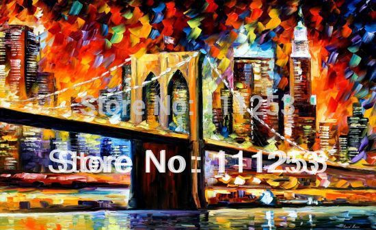 2016 Home Decor Real Romantic Night London Bridge Classical font b Knife b font Oil Painting