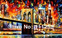 2016 Home Decor Real Romantic Night London Bridge Classical Knife Oil Painting 100% Hand Painted Wall Art Picture free Shipping